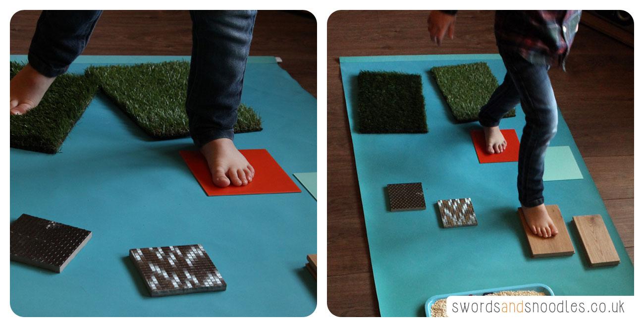 Child walking over Sensory Stepping Stones
