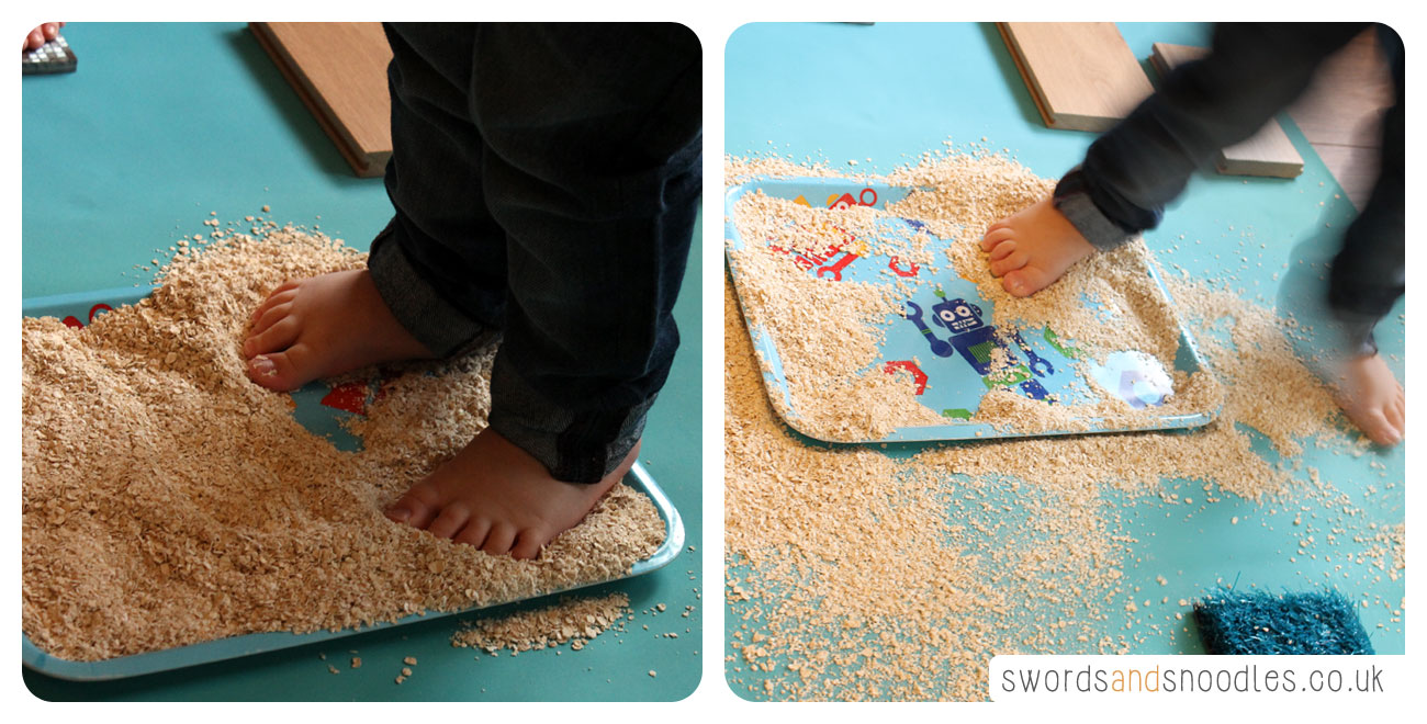 Child walking in oats during Sensory Stepping Stones activity