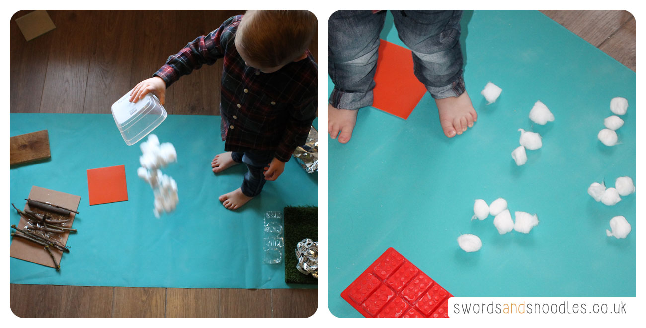 Cotton balls for Sensory Stepping Stones activity