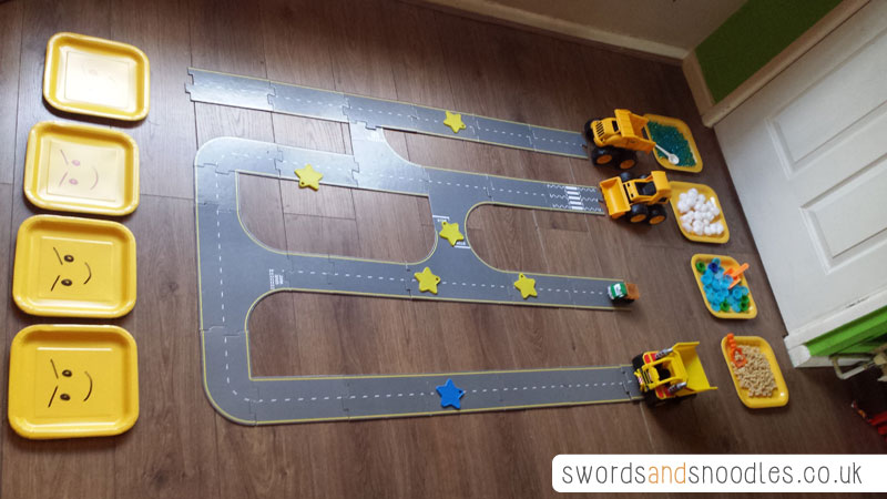 Transport themed sensory activity by Swords & Snoodles